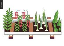 De stedelijke landbouw en het tuinieren op de sporen royalty-vrije illustratie