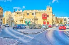 De stedelijke scène van oude Naxxar, Malta royalty-vrije stock foto's