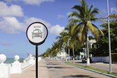 De stedelijke straat van Mexico Cozumel dichtbij overzees royalty-vrije stock foto's