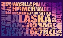 De steden van de staat van Alaska stock illustratie