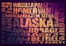 De steden van de staat van Alaska royalty-vrije illustratie