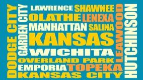 De stedenlijst van de staat van Kansas Royalty-vrije Stock Afbeeldingen