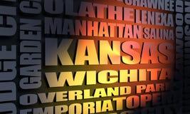 De stedenlijst van Kansas royalty-vrije stock foto's