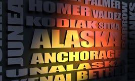 De stedenlijst van de staat van Alaska royalty-vrije illustratie