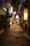 De steeg. Osaka.Japan van de nacht. Stock Afbeeldingen