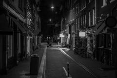 De steeg van Amsterdam bij nacht stock foto