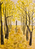 De steeg van Atumn, het schilderen stock illustratie