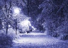 De steeg van de winter bij nacht stock afbeelding