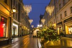 De steeg van Stoleshnikov van de Kerstmisdecoratie, Moskou stock afbeeldingen