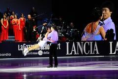 De Steek en Jian Tong van Qing van de schaatsers van het ijs Royalty-vrije Stock Foto's