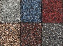 De steekproeven van asfaltdakspanen Stock Foto