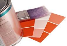 De Steekproeven van de verf, van de Borstel en van de Kleur stock afbeeldingen