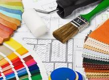 De steekproeven van materialen kleurt, stoffering en dekking Stock Afbeelding