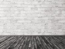 De steen betegelt muur en de zwarte houten 3d vloer geeft terug royalty-vrije illustratie