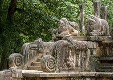 De steen sneed trap leidend aan de ruïnes van de Publiekszaal in Polonnaruwa in Sri Lanka Royalty-vrije Stock Foto