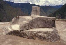 De steen van Intihuatana in Machu Picchu, Peru. Royalty-vrije Stock Afbeeldingen