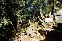De steenblokken van de oude ru?nes worden aangestoken door de heldere middagzon Ru?nes in de wildernis van Indochina stock fotografie