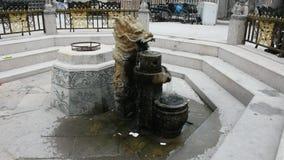 De steenfontein van de beeldhouwwerkdraak in tuin bij openlucht stock video
