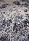 De steenkool en de as in de grill, de barbecue of de brand voor het koken, selectieve nadruk, sluiten omhoog mening, macro Royalty-vrije Stock Fotografie