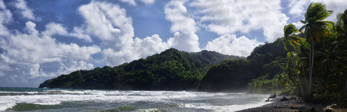 De steenkust in het Berekua-dorp, Dominica, Lesser Antilles stock afbeeldingen