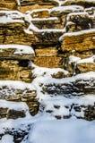 De Steenmuur met Sneeuw Royalty-vrije Stock Fotografie