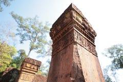 De Steenpijlers van Banteay Srei, Angkor-Tempels, Kambodja Royalty-vrije Stock Foto's