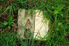 De steenplaques van de Mijnenadviesgroep merken de plaats van niet ontplofte bommen gemaakt in de Vlakte van Kruiken veilig stock afbeelding