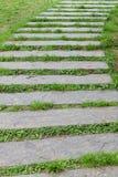 De steenplaten van de weg op een groen gras Royalty-vrije Stock Afbeeldingen