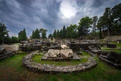 De steenruïnes van Historische Salonae verdelen dichtbij, Dalmatië, Kroatië Stock Fotografie