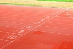 De stegen van de renbaan voor atleten Stock Foto's