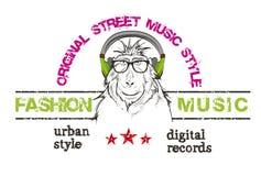 De steile baviaan luistert een muziek in hoofdtelefoons vector illustratie