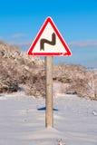 De steile draai van het verkeerstekenconcept, close-up royalty-vrije stock foto