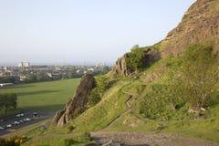 De Steile rotsen van Salisbury, Holyrood Park, Edinburgh stock afbeelding