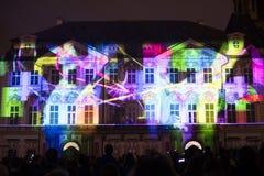 De stem van Cijfers het lichte videomapping bij de Oude steden regelt in Praag tijdens het Signaal lichte festival 2016 Royalty-vrije Stock Fotografie