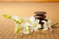 De stenen en de orchideeën van Zen stock fotografie