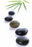 De stenen en het bamboe doorbladeren Royalty-vrije Stock Foto's
