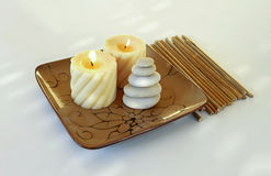 De stenen en het bamboe van Zen Stock Foto