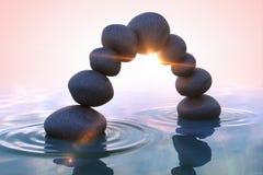 De stenen en het bamboe van Zen boog Royalty-vrije Stock Afbeeldingen