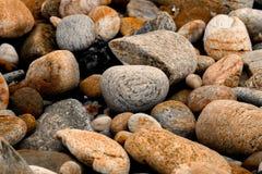 De stenen op het strand dichtbij het overzees na de waterspiegel daalt Royalty-vrije Stock Afbeelding