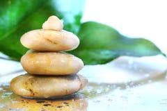 De stenen van het kuuroord met bladeren Stock Fotografie