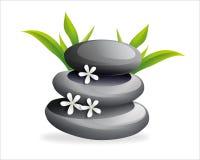 De stenen van het kuuroord met bloem Stock Foto's