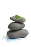 De stenen van het kuuroord met geïsoleerdo blad en zout royalty-vrije stock afbeeldingen