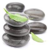 De stenen van het kuuroord met groene bladeren op een wit. Royalty-vrije Stock Foto