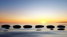 De stenen van Zen in het water stock illustratie