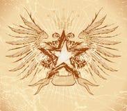 De ster & de vleugels van Grunge Royalty-vrije Stock Afbeelding