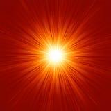 De ster barstte rode en gele brand. EPS 8 Stock Afbeeldingen