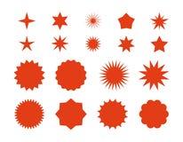 De ster barstte stickers Rood retro verkoopkenteken, vlakke prijskaartjessilhouetten, starburst etiketten grafisch malplaatje Vec stock illustratie
