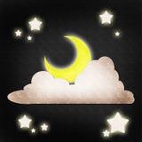 De ster en de wolkennachtscène van de maan Stock Afbeeldingen