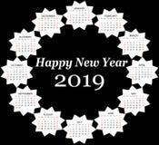 De ster gaf de kalender van 2019 gestalte stock foto's