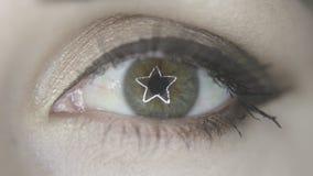 De ster lichte bezinning van de oog openingsring stock footage